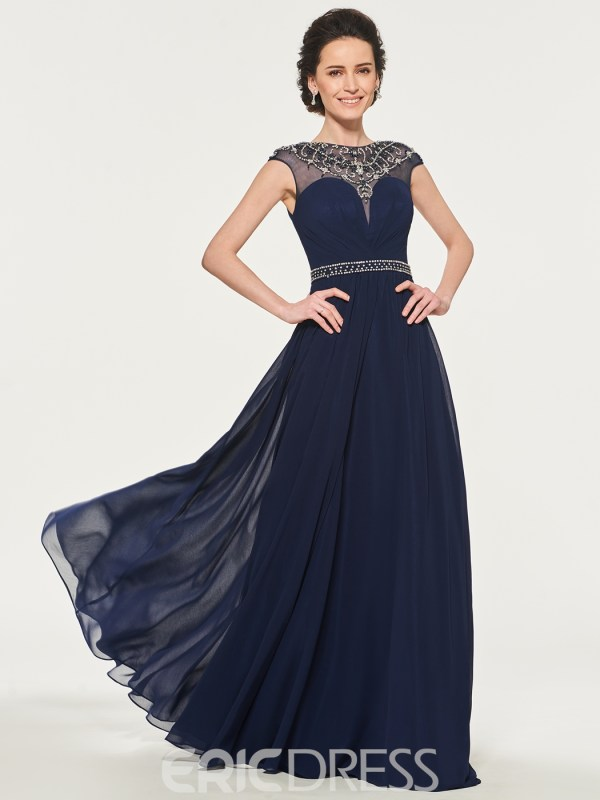A-Line Beaded Long Mother of the Bride Dress