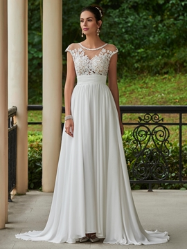 A Line Chiffon Appliques Beaded Scoop Wedding Dress