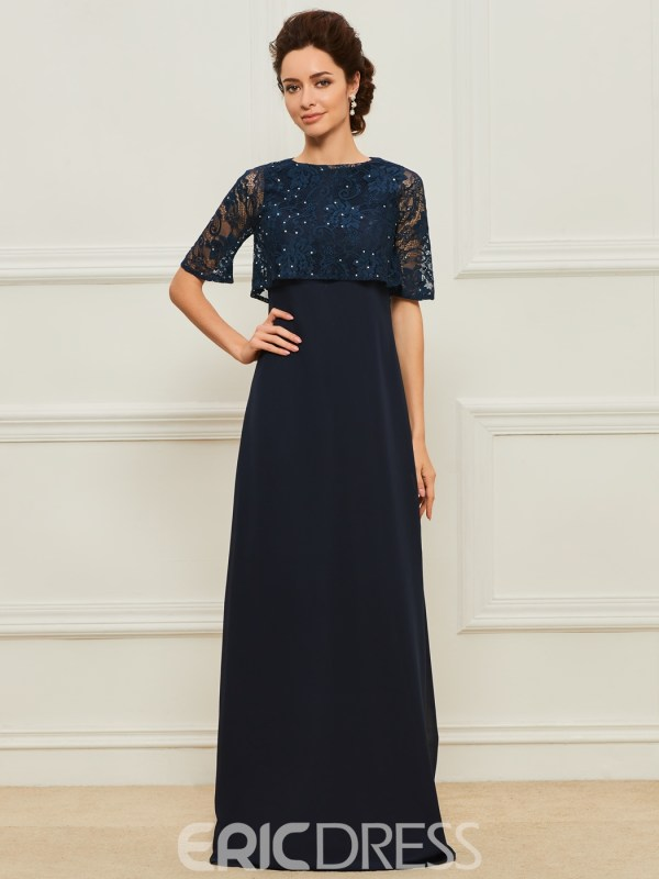 A Line Chiifon Long Mother of the Bride Dress