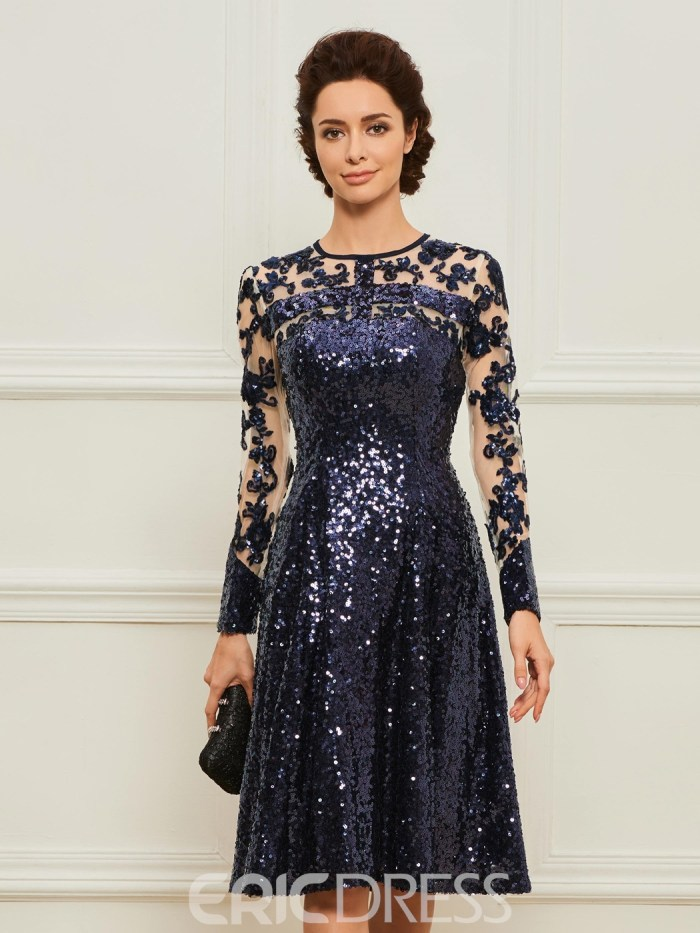 A-Line Long Sleeves Sequins Mother of the Bride Dress