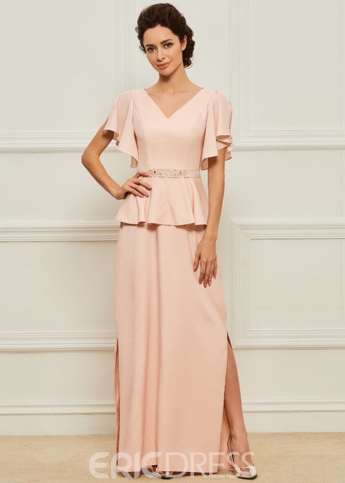 A Line Split-Front Long Mother of the Bride Dress