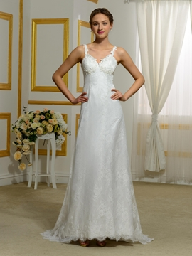 Amazing A Line Backless Lace Wedding Dress