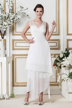 Amazing A-Line V-neck Asymmetry Zipper-Up Beach Wedding Dress