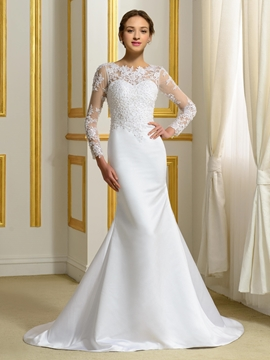 Amazing Beading Long Sleeves Mermaid Wedding Dress