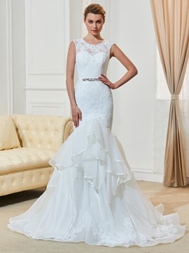 Amazing Jewel Lace Mermaid Wedding Dress
