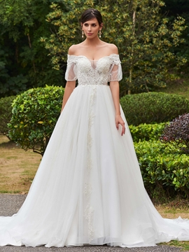 Amazing Off The Shoulder Short Sleeves A Line Wedding Dress