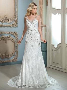 Amazing V Neck Beaded Lace Wedding Dress
