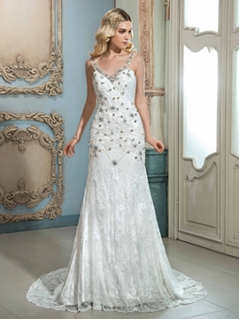 Amazing V Neck Beaded Lace Wedding Dress
