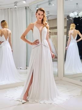 Backless A Line Wedding Dress