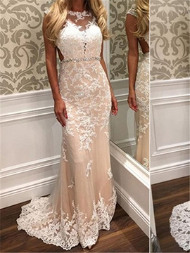 Backless Sheath Appliques Tulle Wedding Dress