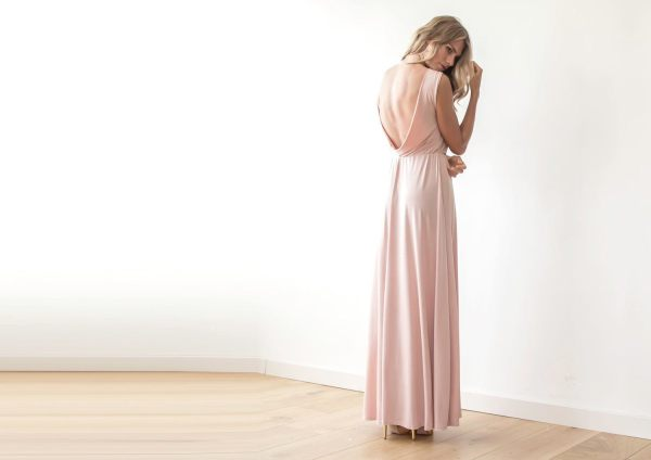 Backless blush pink sleeveless maxi dress 1062