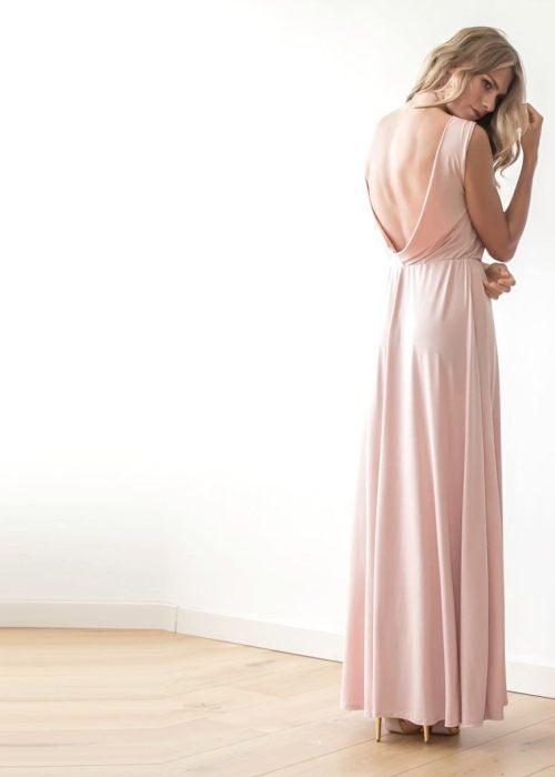 Backless blush pink sleeveless maxi dress 1062