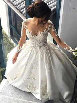 Ball Gown Long Sleeves Matte Satin Wedding Dress