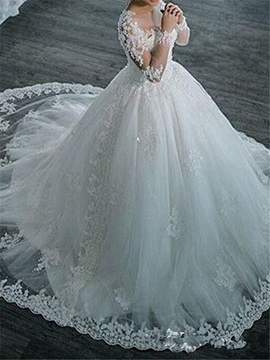 Ball Gown Long Sleeves Tulle Appliques Beaded Wedding Dress