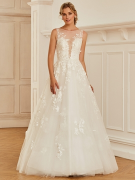 Bateau Lace Ball Gown Tulle Wedding Dress