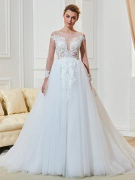 Bateau Long Sleeves A Line Wedding Dress