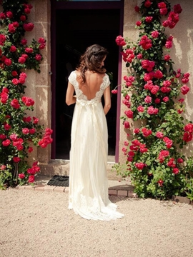 Beautiful A Line Backless Empire Beach Wedding Dress