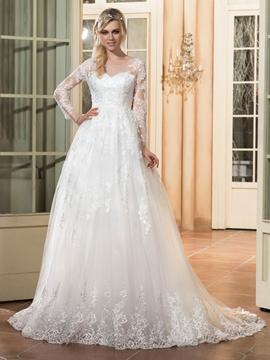 Beautiful Appliques A Line Long Sleeves Wedding Dress