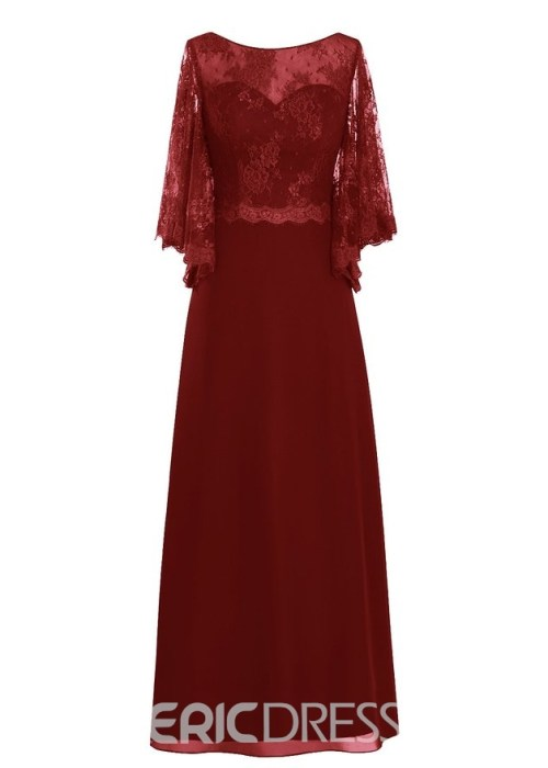 Beautiful Bateau Lace Mother of the Bride Dress