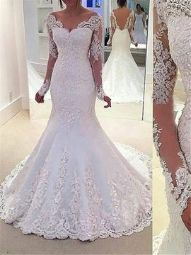 Beautiful Beading Long Sleeves Backless Mermaid Wedding Dress