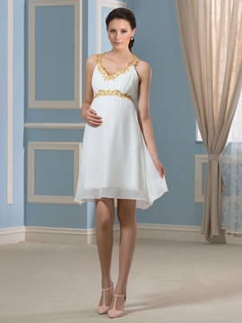 Beautiful Beading Short Maternity Dress
