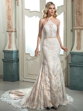 Beautiful Halter Mermaid Lace Wedding Dress