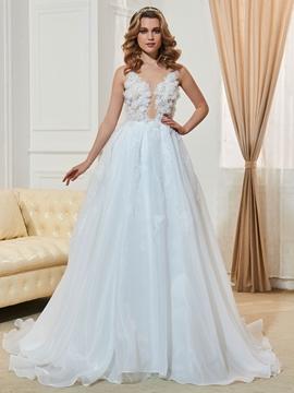 Beautiful Illusion Neckline Flowers A Line Wedding Dress