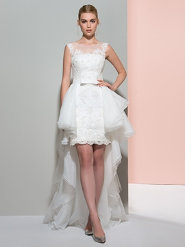 Beautiful Illusion Neckline Sheath Asymmetry Wedding Dress