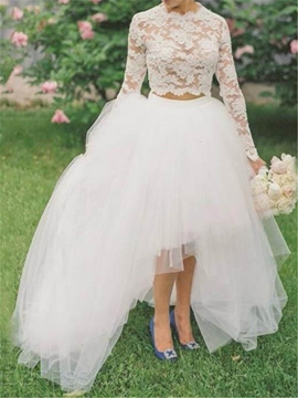 Beautiful Lace High Low Two Pieces Wedding Dress