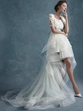 Beautiful Scoop Lace Beach Wedding Dress