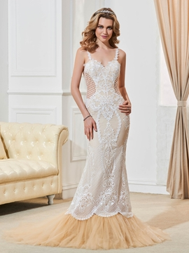 Beautiful Spaghetti Straps Backless Mermaid Lace Wedding Dress