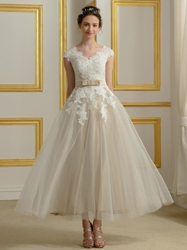 Beautiful V Neck Appliques Reception Wedding Dress