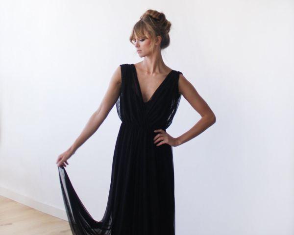 Black Sheer Chiffon Sleeveless Maxi Dress 1090
