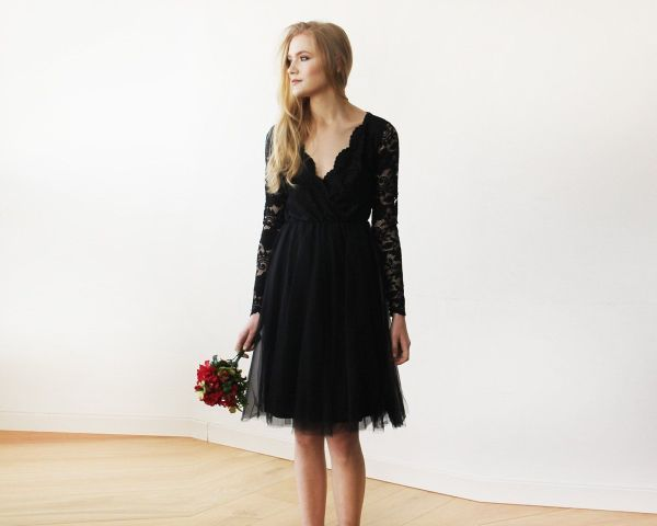 Black Tulle & Lace Midi Long Sleeves Dress 1144