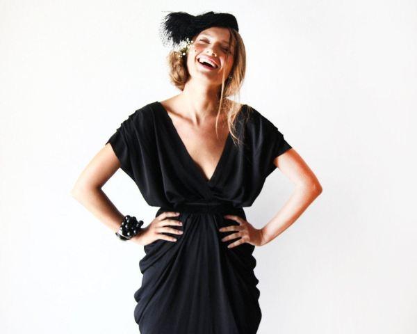 Black midi bridesmaids dress 1007