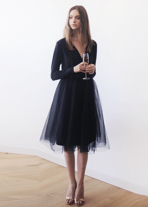Black midi tulle dress with long sleeves 1068 SALE