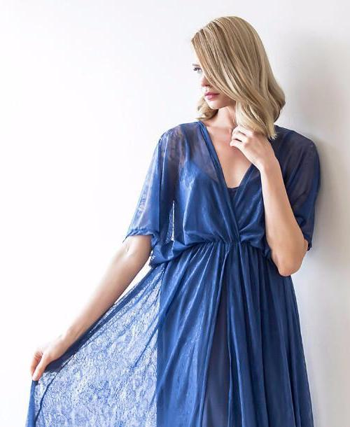 Blue sheer lace maxi dress with bat-wing sleeves 1025