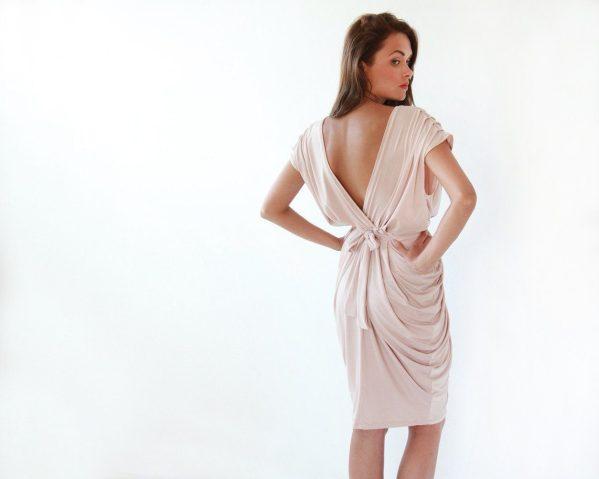 Blush Pink bridesmaids midi dress 1007