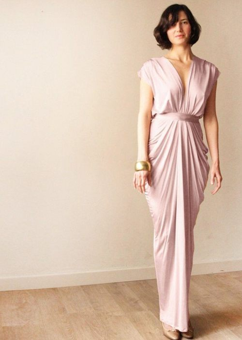 Blush pink bridesmaids backless maxi dress SALE 1008
