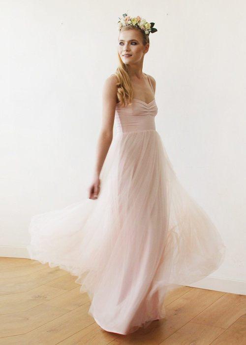 Blush pink maxi ballerina tulle dress SALE 1061