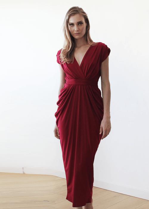 Bordeaux formal maxi dress SALE 1008