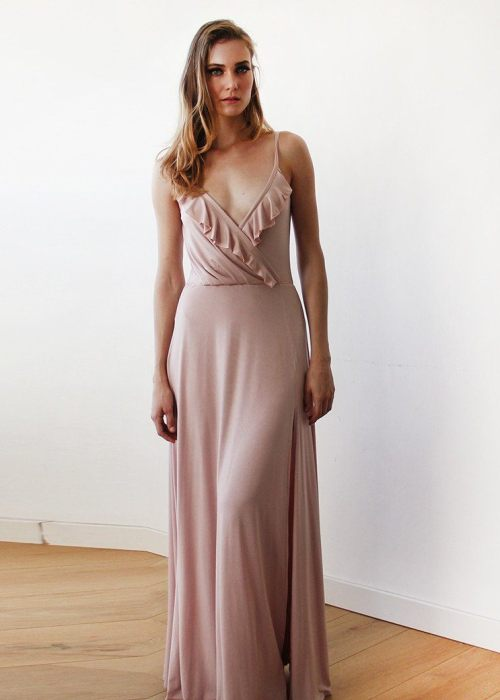 Bridesmaids blush wrap dress with ruffle and straps 1138