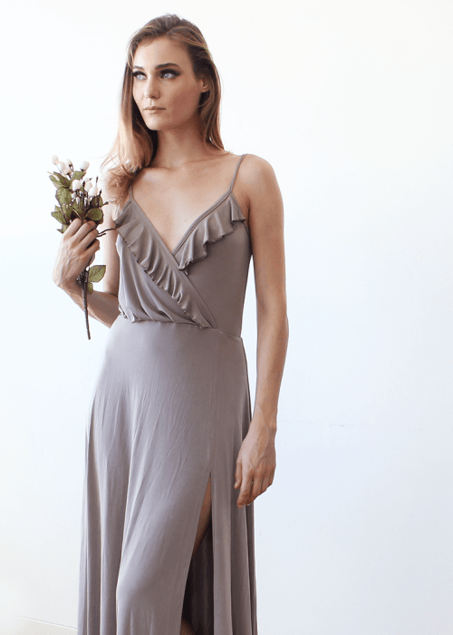 Bridesmaids taupe wrap dress with ruffle and straps 1138