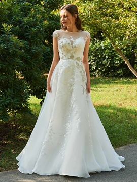 Cap Sleeves Appliques Tulle Wedding Dress