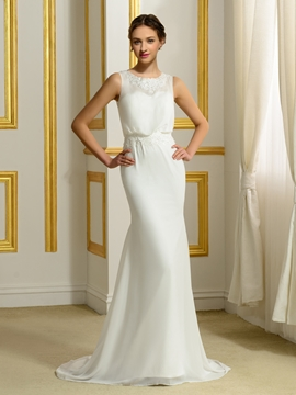 Casual Sheath Chiffon Wedding Dress