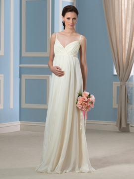Casual Spaghetti Straps Chiffon Maternity Wedding Dress