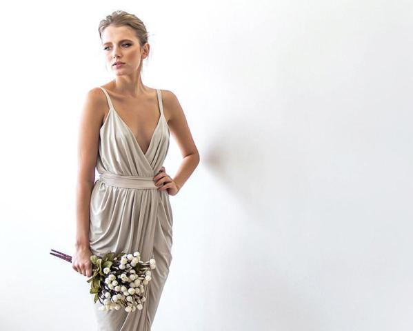 Champagne maxi tulip wrap dress 1033