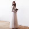Champagne maxi tulle dress with long sleeves 1066