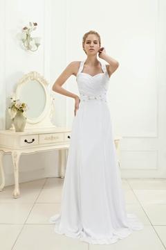 Charming A-line Halter Beaded Floor-length Veronica's Beach Wedding Dress
