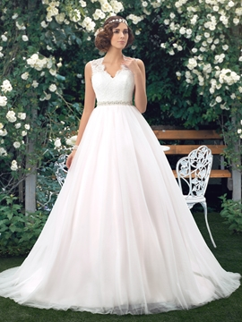 Charming A-line V-Neck Button Lace Wedding Dress